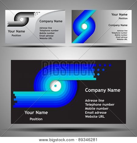 Colorful Futuristic Business Card Template Layout - Abstract Design for Technology