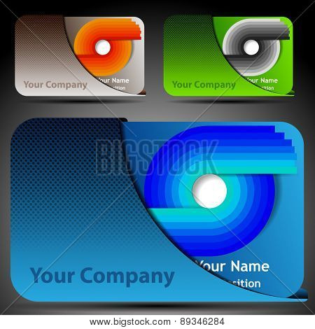 Colorful Futuristic Business Card Template Layout with Case - Abstract Design in Various Colors for Technology