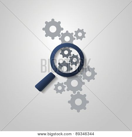 Business Analysis Symbol Concept with Magnifying Glass Icon and Gears