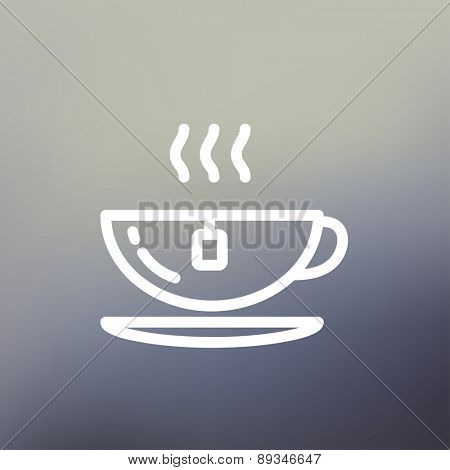 Hot tea in a cup icon thin line for web and mobile, modern minimalistic flat design. Vector white icon on gradient mesh background.