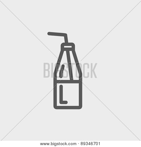 Bottle of milk with straw icon thin line for web and mobile, modern minimalistic flat design. Vector dark grey icon on light grey background.