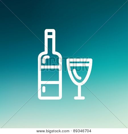 Bottle of whisky and a glass icon thin line for web and mobile, modern minimalistic flat design. Vector white icon on gradient mesh background.