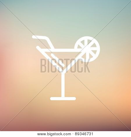 Margarita drink with lemon icon thin line for web and mobile, modern minimalistic flat design. Vector white icon on gradient mesh background.