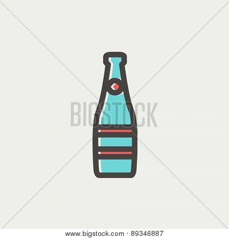 Champagne bottle icon thin line for web and mobile, modern minimalistic flat design. Vector icon with dark grey outline and offset colour on light grey background.