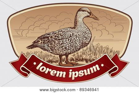 Illustration duck in graphic style in the label.