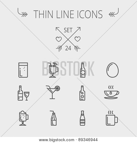 Food and drink thin line icon set for web and mobile. Set includes-soda, wine, whisky, coffee, hot choco, beer, ice tea, egg icons. Modern minimalistic flat design. Vector dark grey icon on light grey