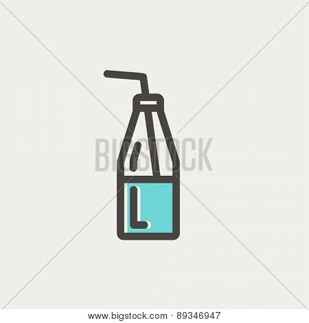Bottle of milk with straw icon thin line for web and mobile, modern minimalistic flat design. Vector icon with dark grey outline and offset colour on light grey background.