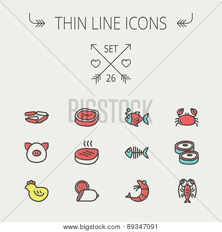 Food and drink thin line icon set for web and mobile. Set includes -steak, sausages, fish, crab, shrimp, lobster icons. Modern minimalistic flat design. Vector icon with dark grey outline and offset