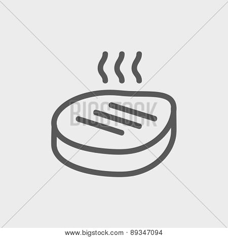 Grilled steak icon thin line for web and mobile, modern minimalistic flat design. Vector white icon on gradient mesh background.