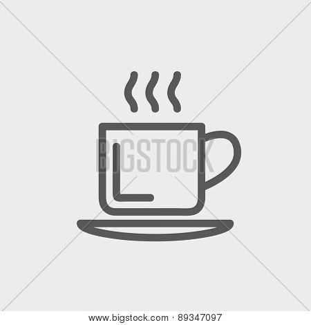 Cup of hot coffee icon thin line for web and mobile, modern minimalistic flat design. Vector dark grey icon on light grey background.