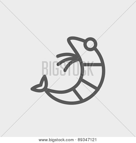 Chick icon thin line for web and mobile, modern minimalistic flat design. Vector dark grey icon on light grey background.