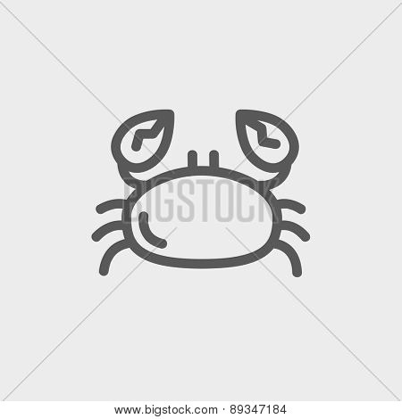 Crab icon thin line for web and mobile, modern minimalistic flat design. Vector dark grey icon on light grey background.