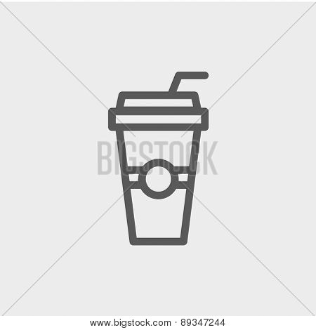 Soda in a plastic cup with straw icon thin line for web and mobile, modern minimalistic flat design. Vector dark grey icon on light grey background.