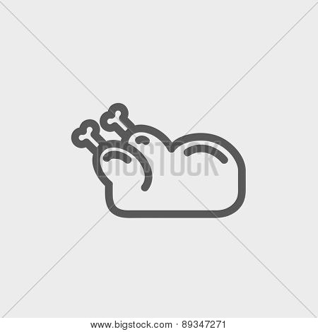 Raw chicken icon thin line for web and mobile, modern minimalistic flat design. Vector dark grey icon on light grey background.