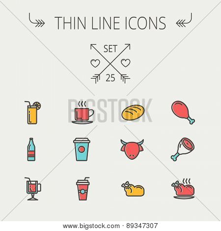 Food and drink thin line icon set for web and mobile. Set includes -coffee, soda, lime, juice, bread, poprk meat, chicken, cow, fried chicken icons. Modern minimalistic flat design. Vector icon with