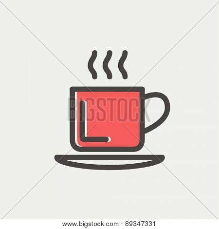 Cup of hot coffee icon thin line for web and mobile, modern minimalistic flat design. Vector icon with dark grey outline and offset colour on light grey background.