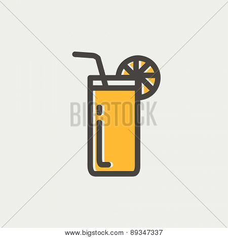 Orange juice glass with drinking straw icon thin line for web and mobile, modern minimalistic flat design. Vector icon with dark grey outline and offset colour on light grey background.