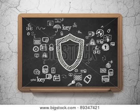 Security concept: Contoured Shield on School Board background