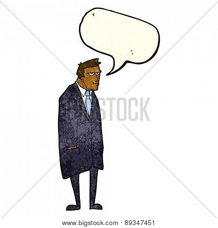 cartoon bad tempered man with speech bubble