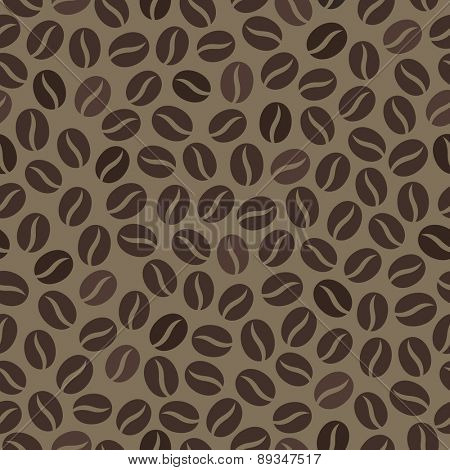 Seamless wallpaper pattern with coffee beans. Vector illustration