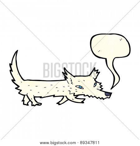 cartoon little wolf with speech bubble