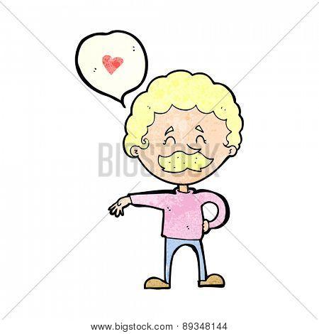 cartoon mustache man in love