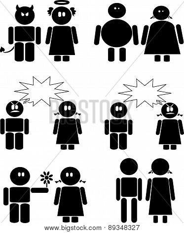 Couples black icons set