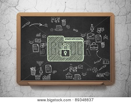 Finance concept: Folder With Lock on School Board background