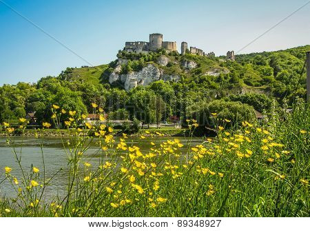 Ruins Of An Ancient Castle On The River Shore, Les Andeles, France