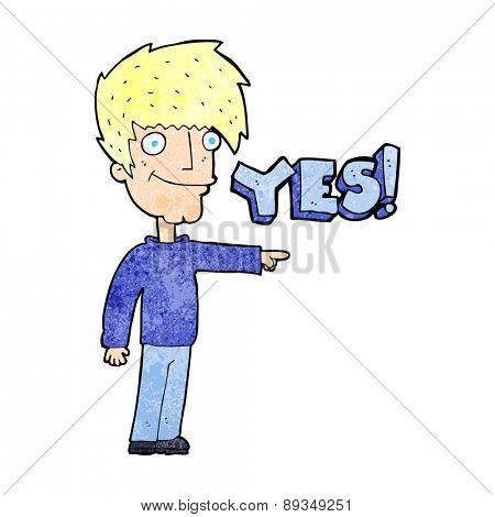 cartoon man saying yes