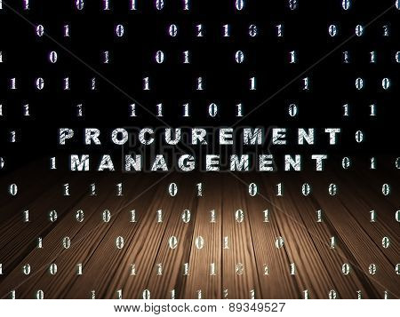 Business concept: Procurement Management in grunge dark room