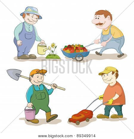 Cartoon: gardeners work