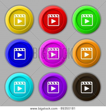 Play Video Icon Sign. Symbol On Nine Round Colourful Buttons. Vector