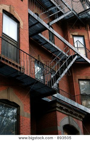 Old Fire Escape On Brick Building