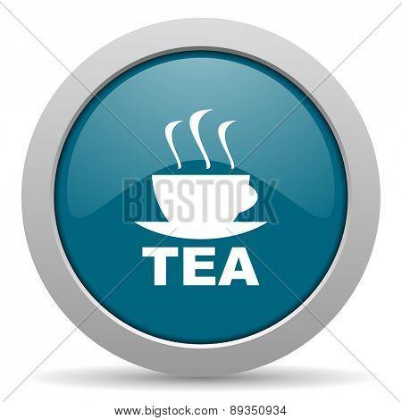 tea blue glossy web icon
