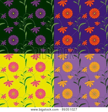 Seamless Vector Patterns Of Colored Flowers