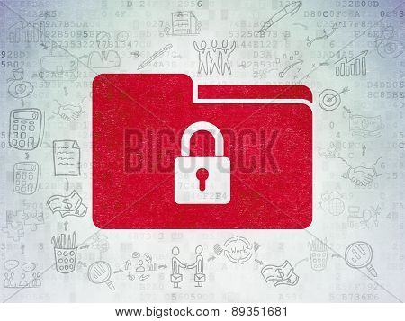 Finance concept: Folder With Lock on Digital Paper background