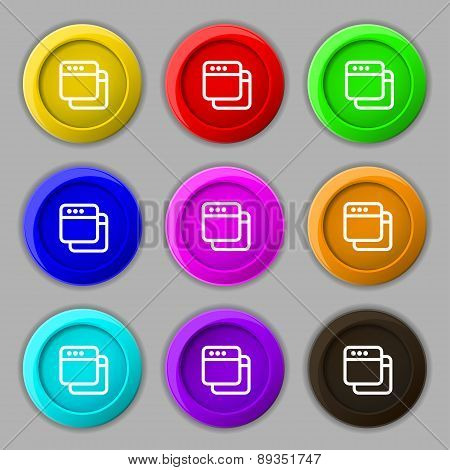 Simple Browser Window Icon Sign. Symbol On Nine Round Colourful Buttons. Vector