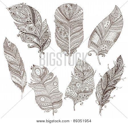 Vector set of doodle feathers on white background.