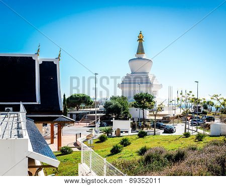 Day View Of Butterfly Park And The Buddhist Stupa In Benalmadena Town. Andalusia, Southern Spain