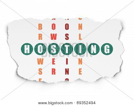 Web design concept: word Hosting in solving Crossword Puzzle