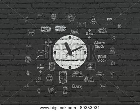 Timeline concept: Clock on wall background