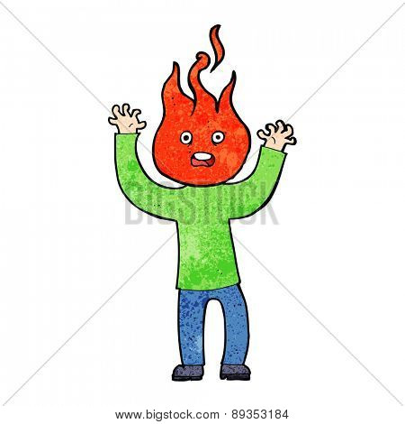 cartoon man with head on fire