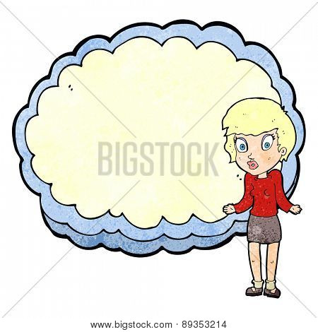 woman standing in front of cloud with space for text