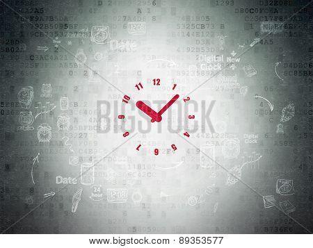 Timeline concept: Clock on Digital Paper background
