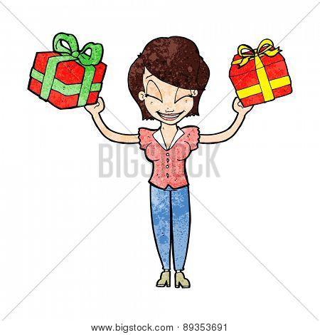 cartoon woman carrying gifts