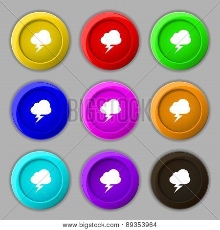 Storm Icon Sign. Symbol On Nine Round Colourful Buttons. Vector