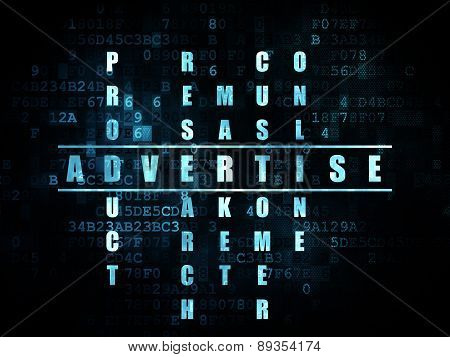Marketing concept: word Advertise in solving Crossword Puzzle