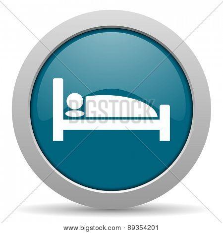 hotel blue glossy web icon