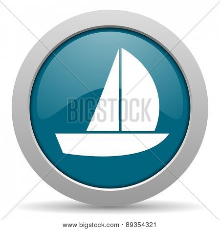 yacht blue glossy web icon